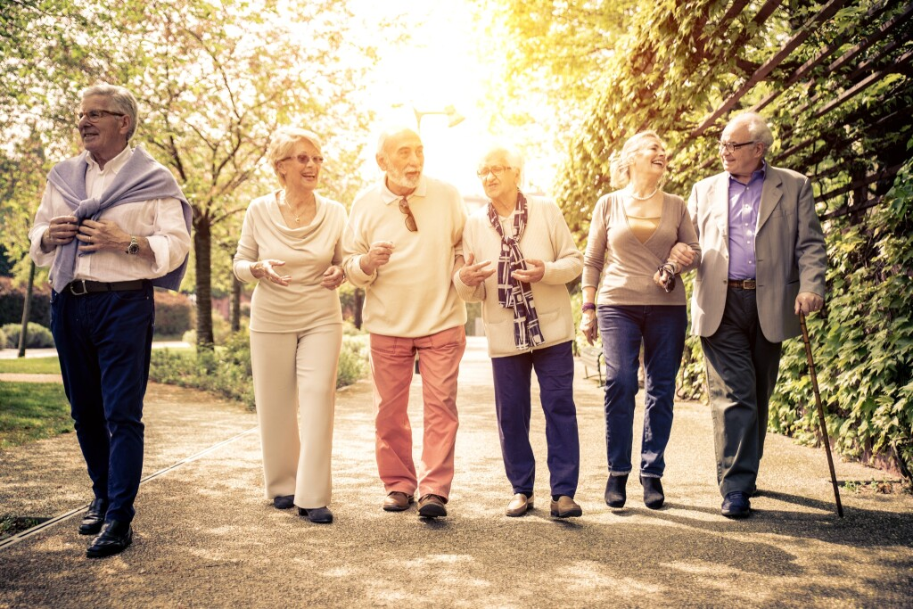 Group,Of,Old,People,Walking,Outdoor.,Old,Friends,Walking,In